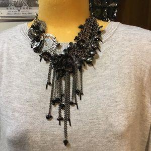 Unique black necklace w/ 2 rhinestones